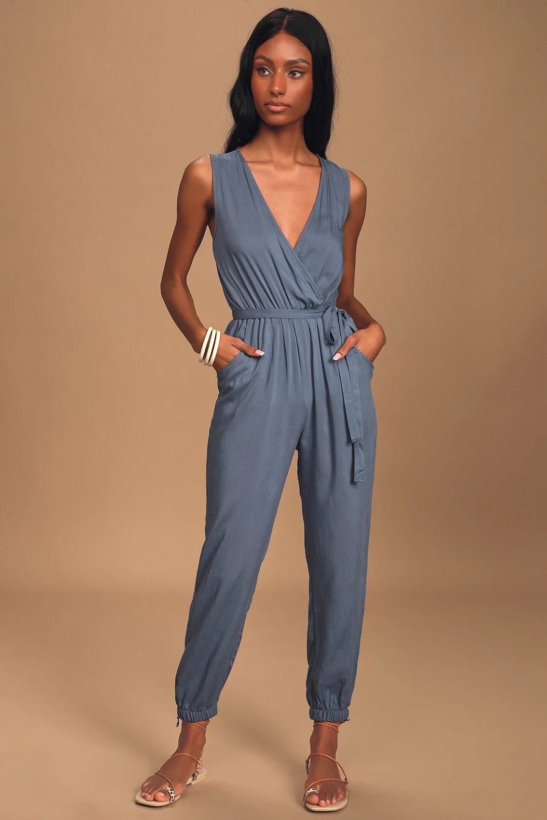 Blue jumpsuit for casual dinner date