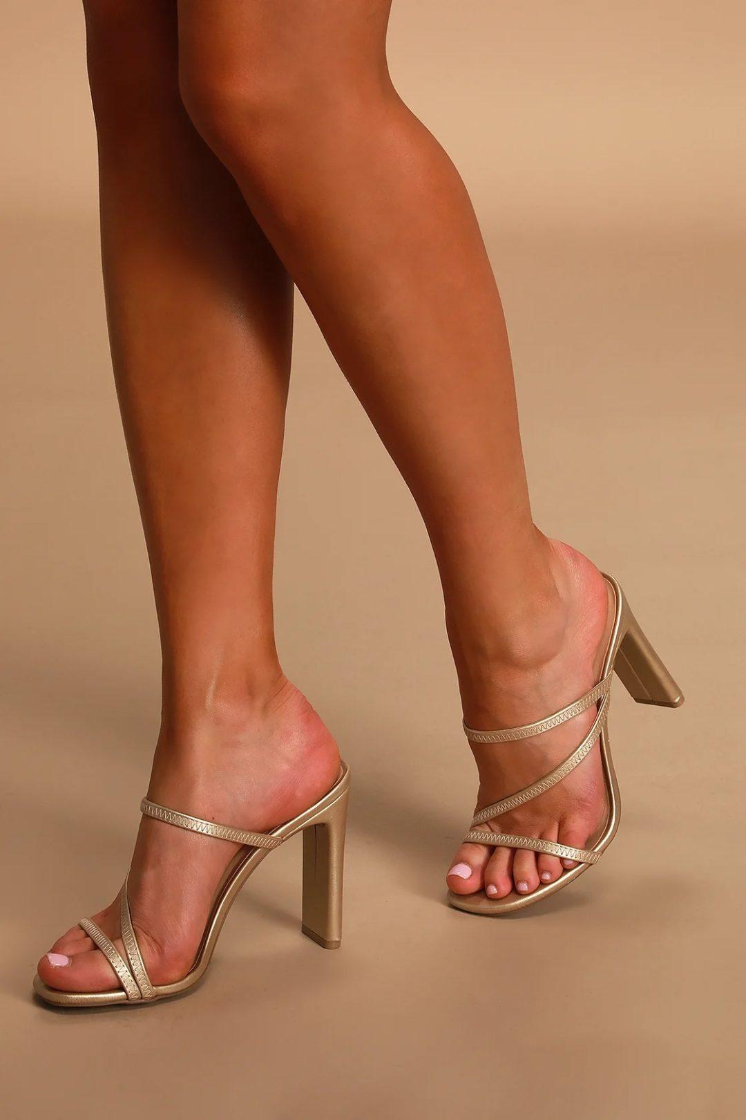 Gold heeled sandals