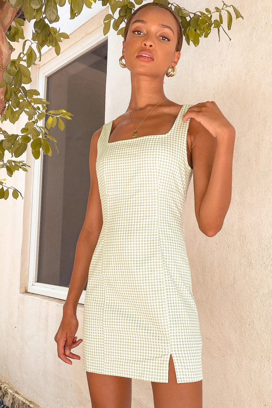 Simple gingham dress for casual dinner date