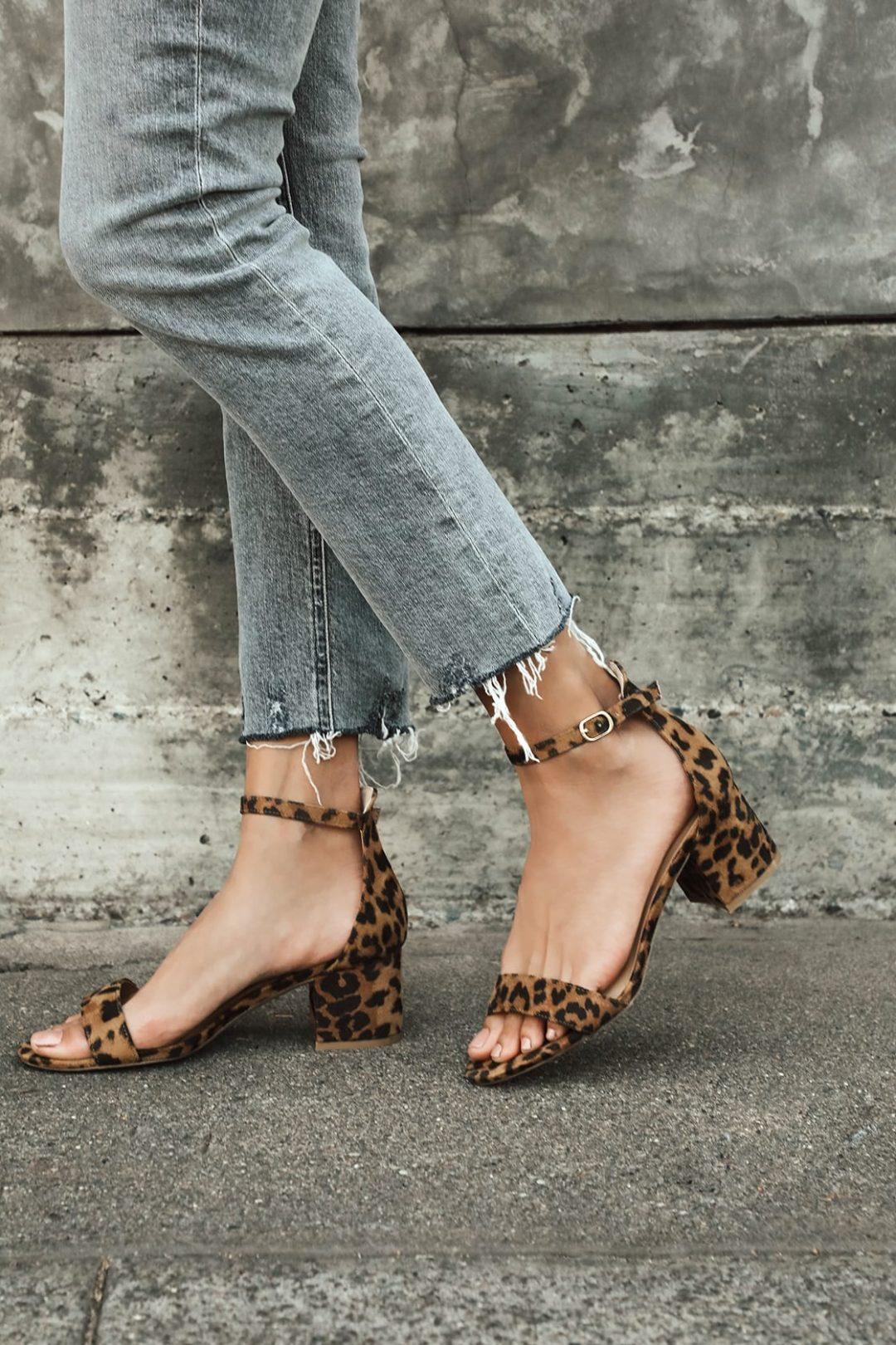 Brown leopard print ankle strap heels