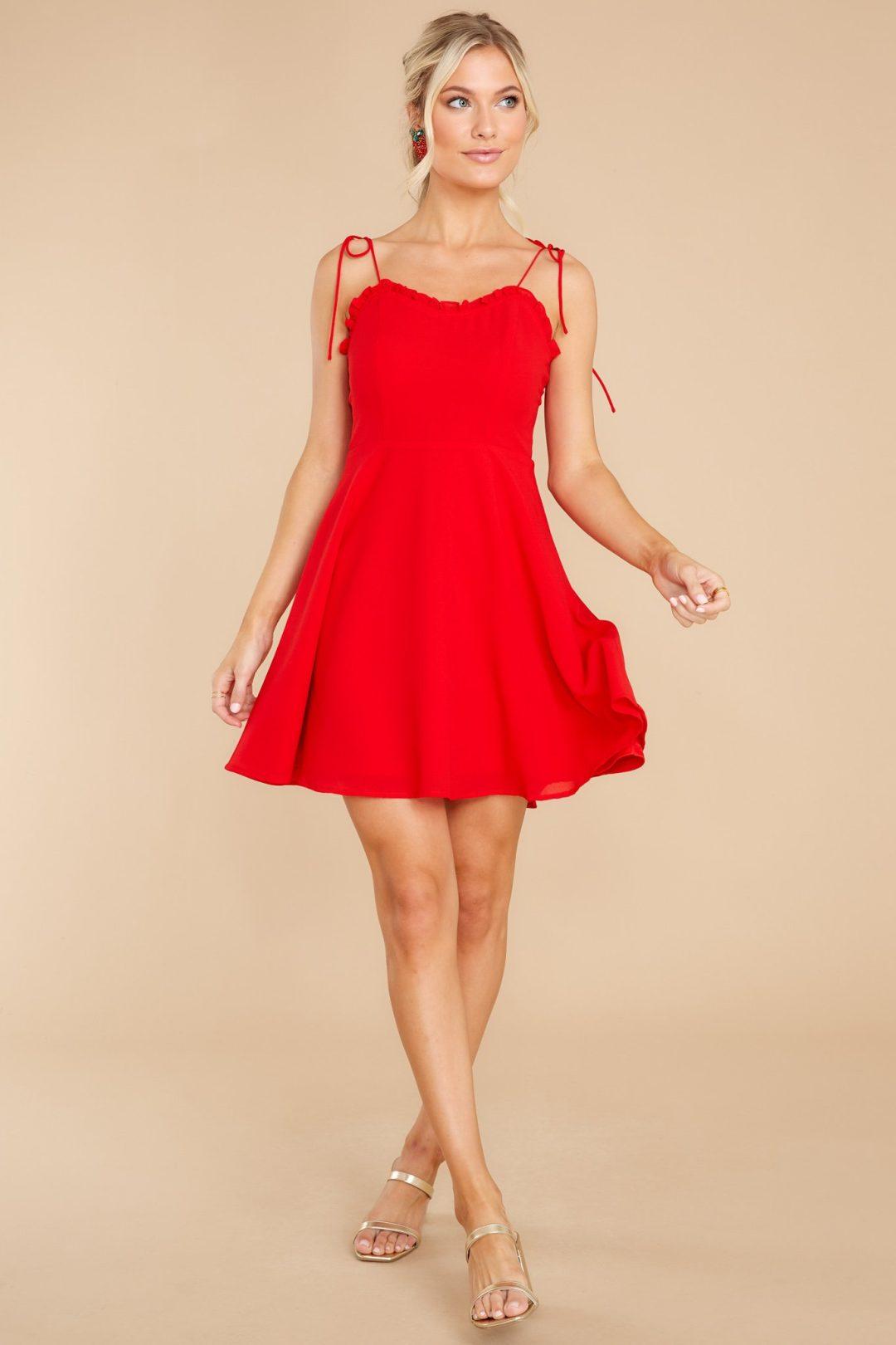 Strappy red dress