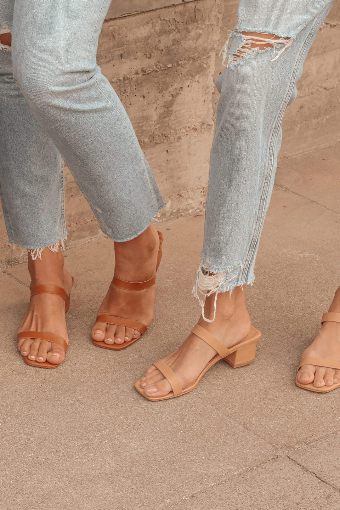 Nude and brown sandals for casual dinner date