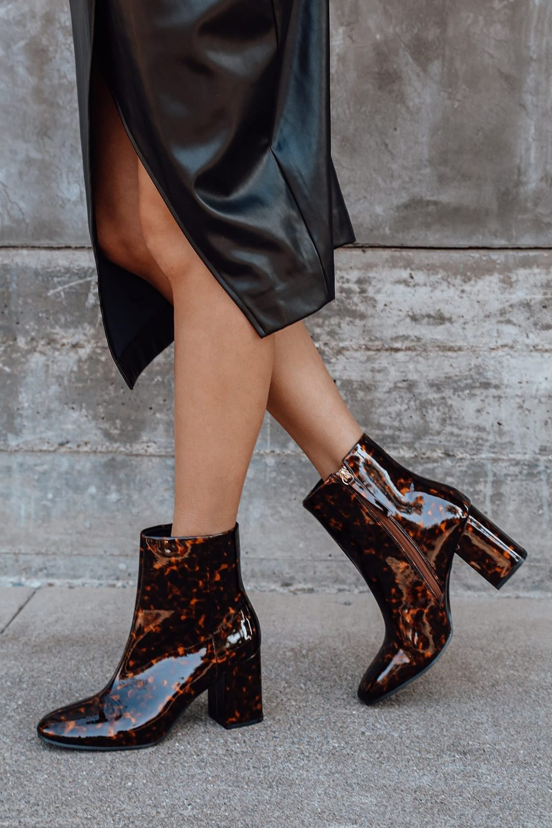Brown and black ankle boots