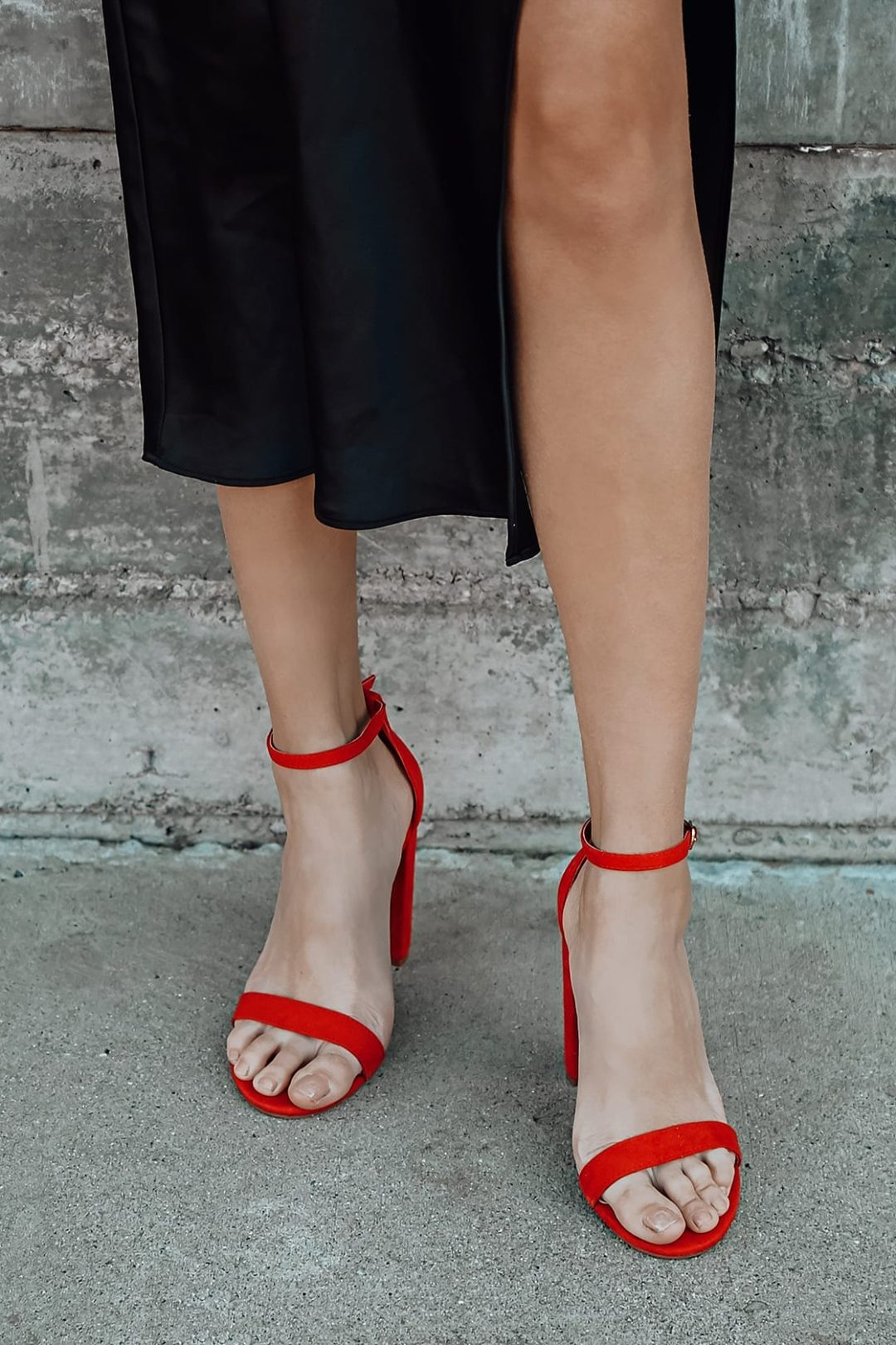Best Shoe Colors To Wear With A Red Dress: Red strappy heels