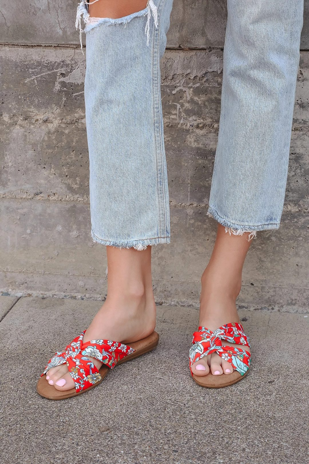 Red floral print sandals