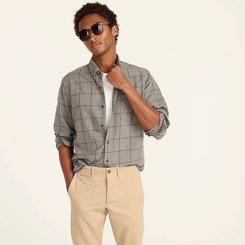 Grey plaid button-down shirt