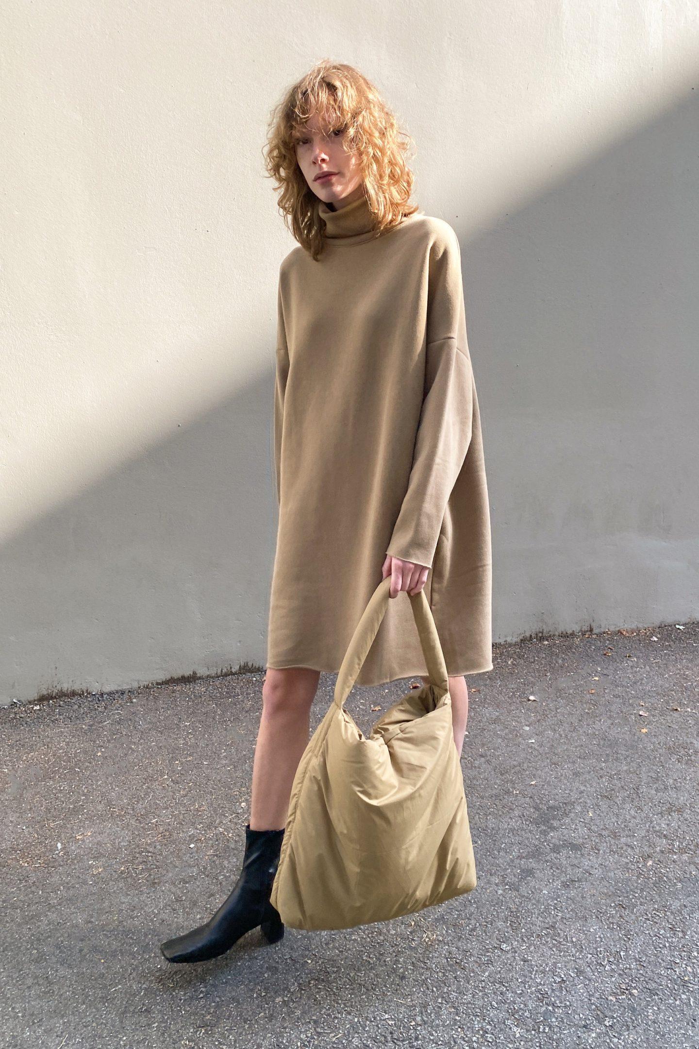 Beige turtleneck sweater dress