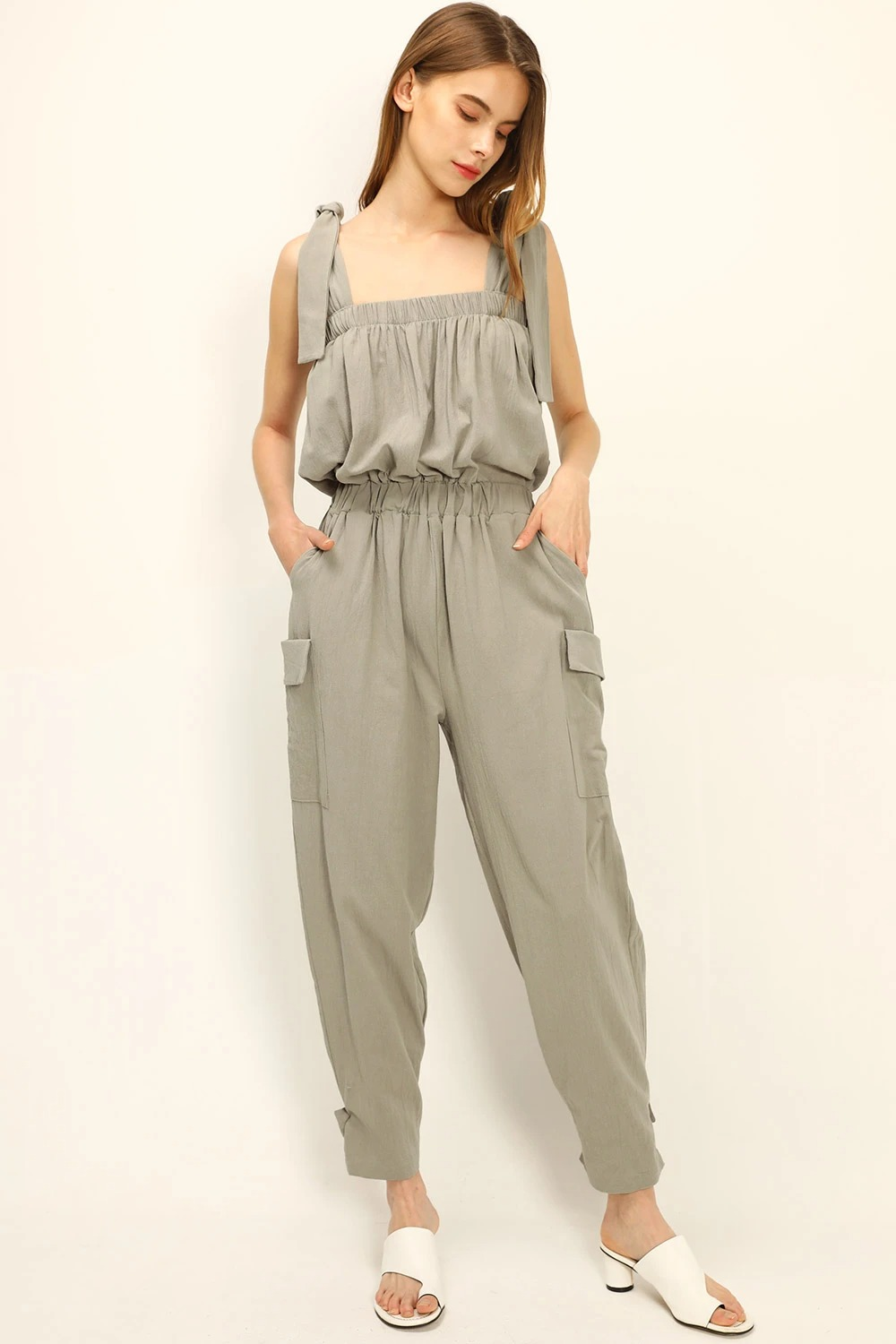 Sage green jumpsuit from Storets
