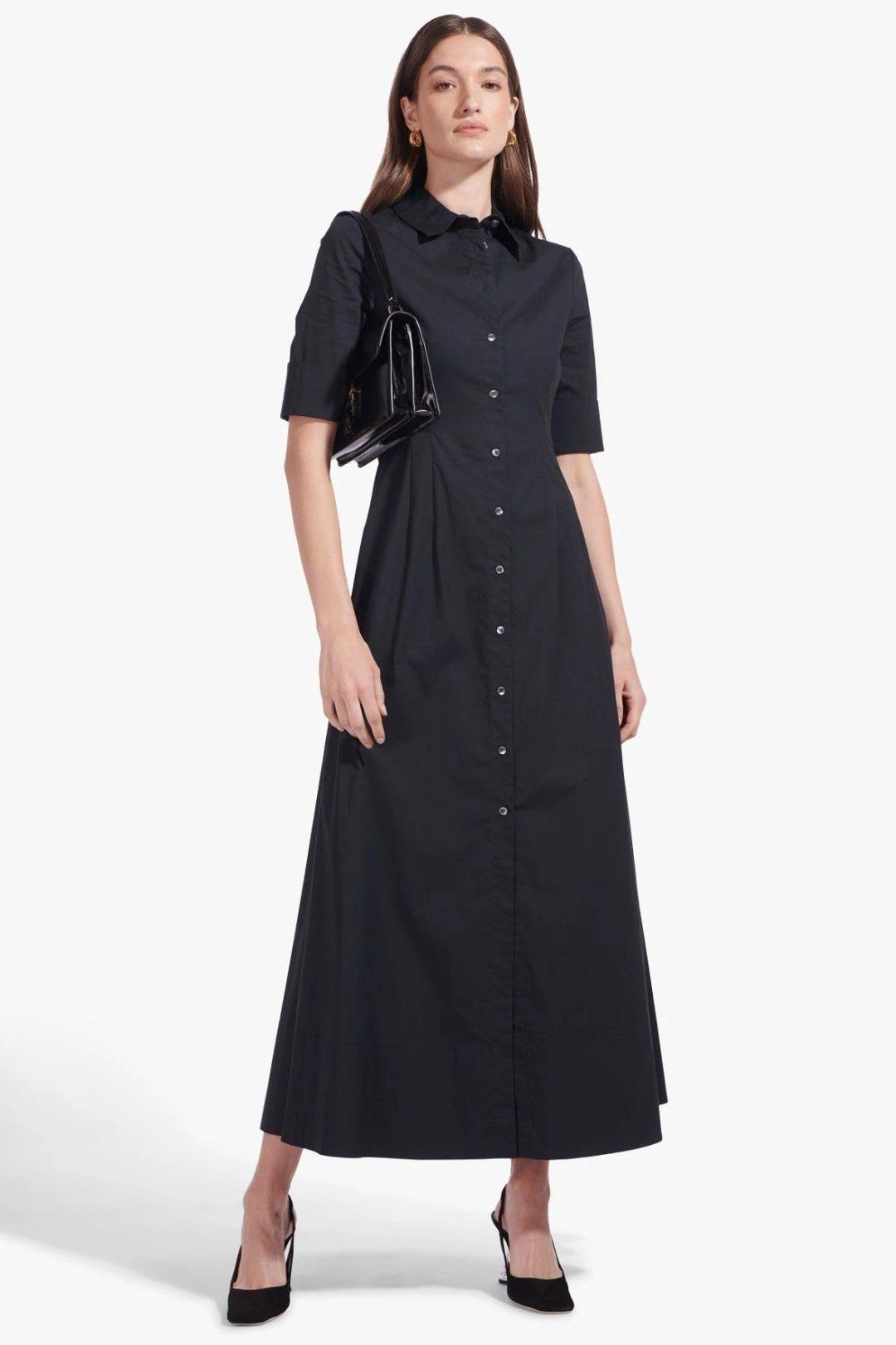 Navy blue collared maxi dress