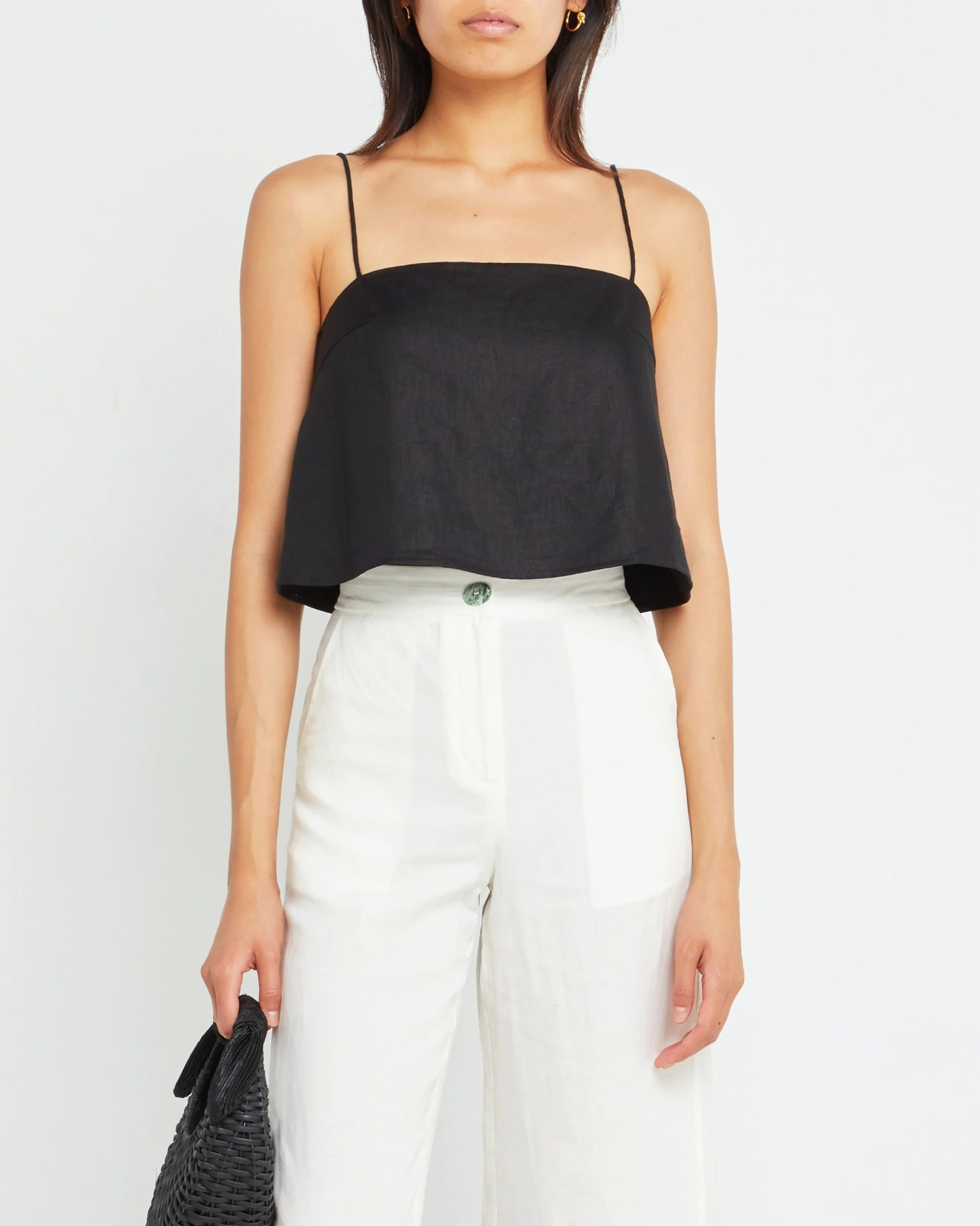 Black strappy crop top