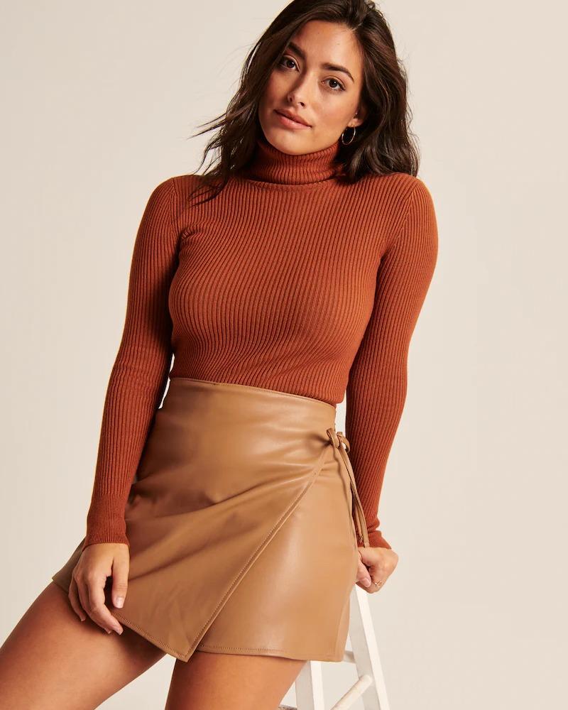 Burnt orange ribbed turtleneck sweater
