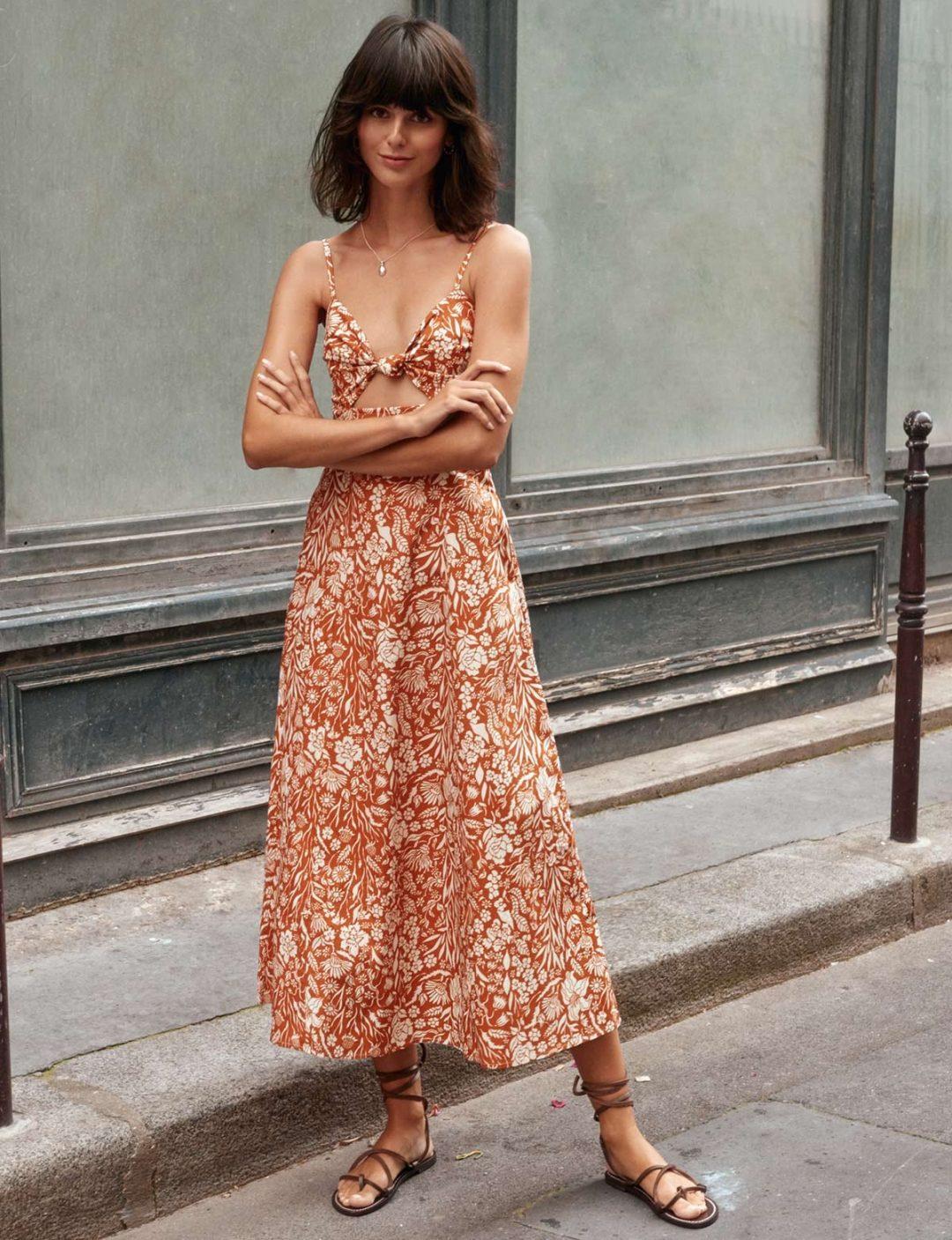 Orange floral midi dress from Pixie Market