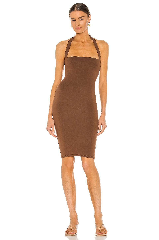 Brown halter bodycon dress