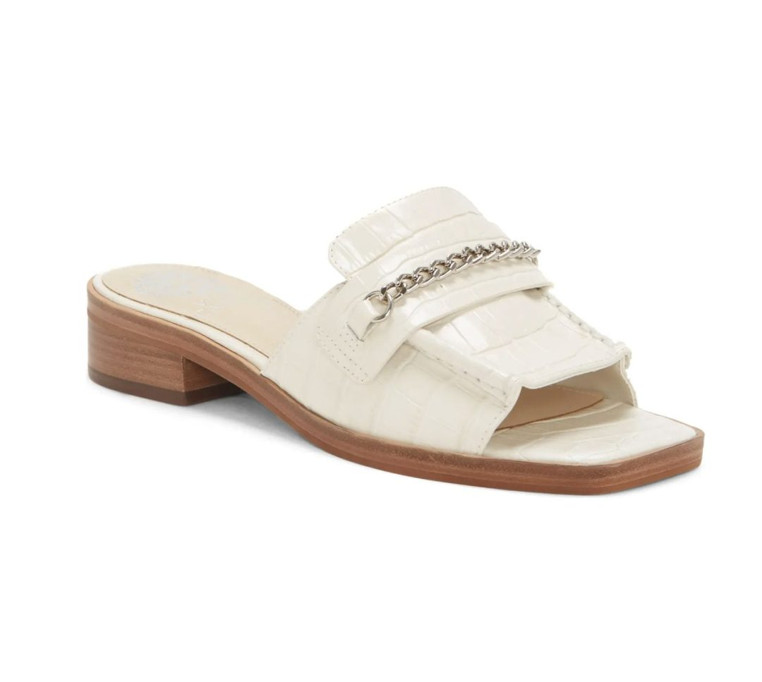 Best Shoe Colors To Wear With A Red Dress: White croc-print sandals
