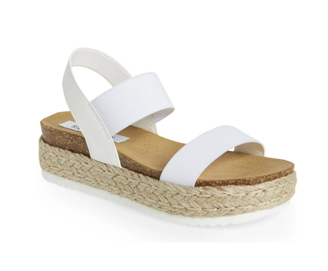 Best Shoe Colors To Wear With A Red Dress: White platform espadrille sandals