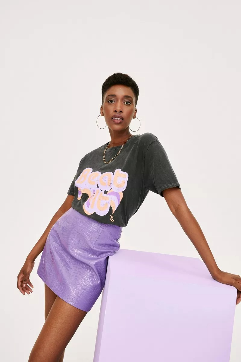 Lilac leather skirt and graphic tee