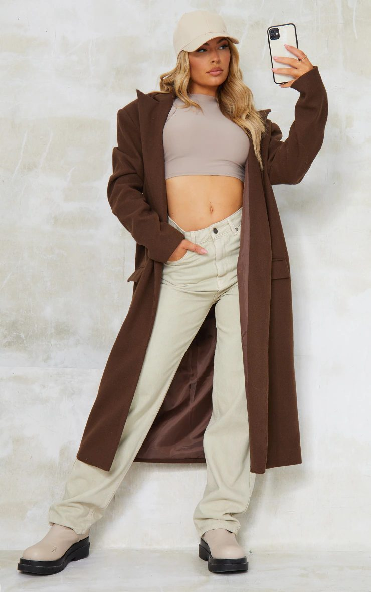 Fall outfit with long brown coat