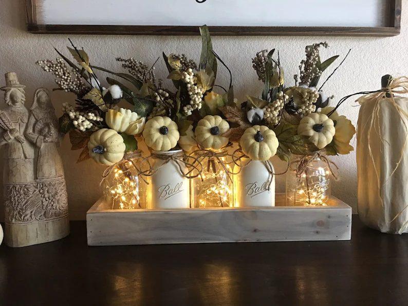 Neutral Fall Thanksgiving Centerpiece