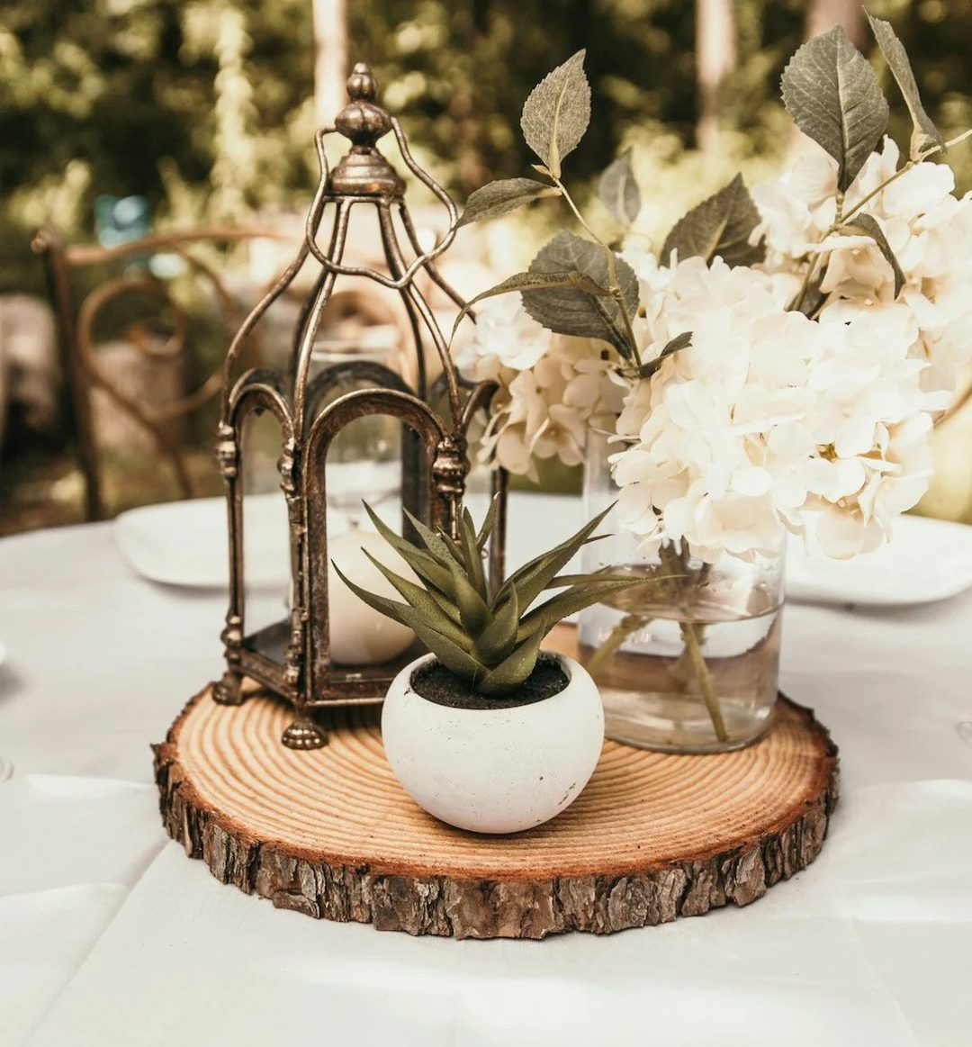 Rustic wooden centerpiece for fall
