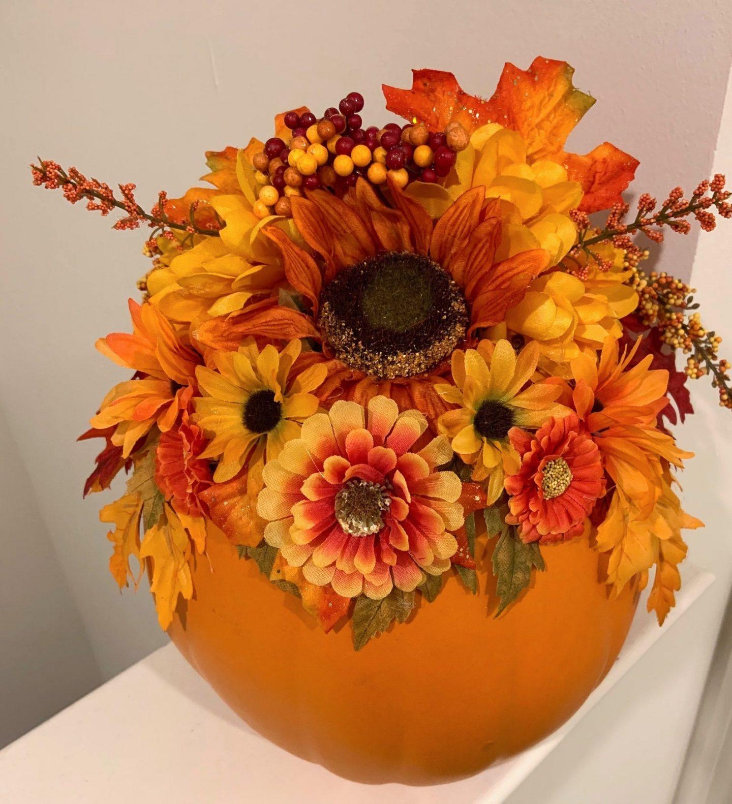 Fall and Thanksgiving floral pumpkin centerpiece