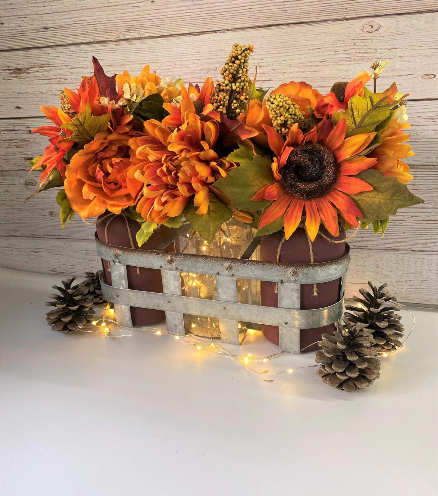 Rustic Sunflower Thanksgiving Centerpiece