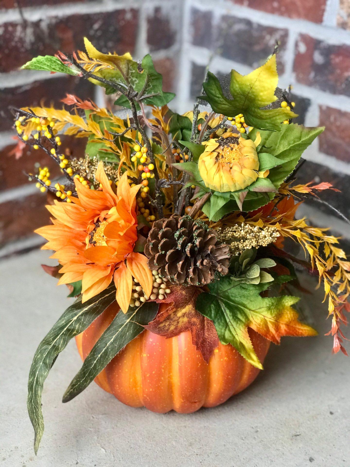 Pumpkin and Sunflower Flower Arrangement