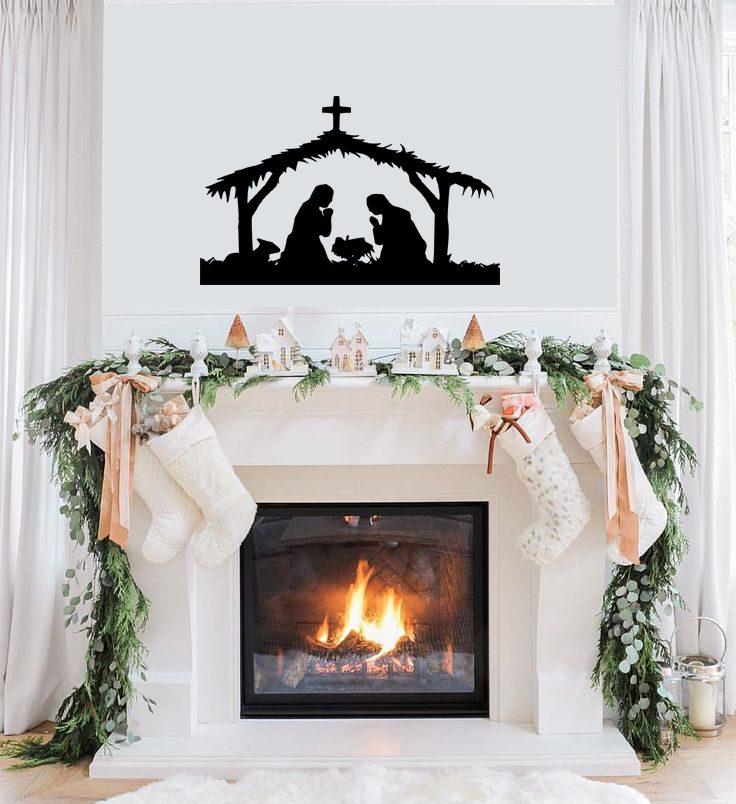 Nativity Christmas mantel decor