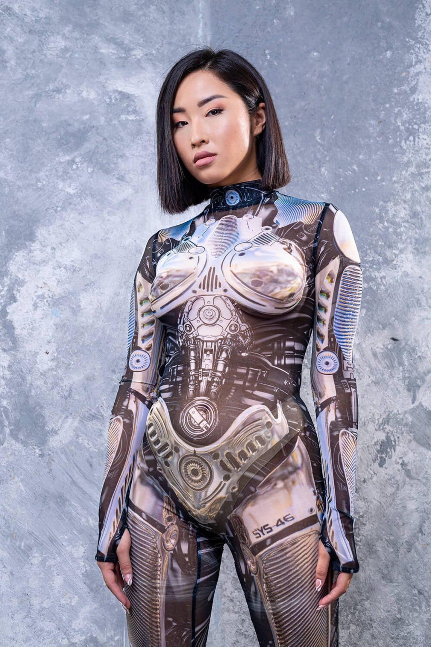 Hot sci-fi robot Halloween costume for women