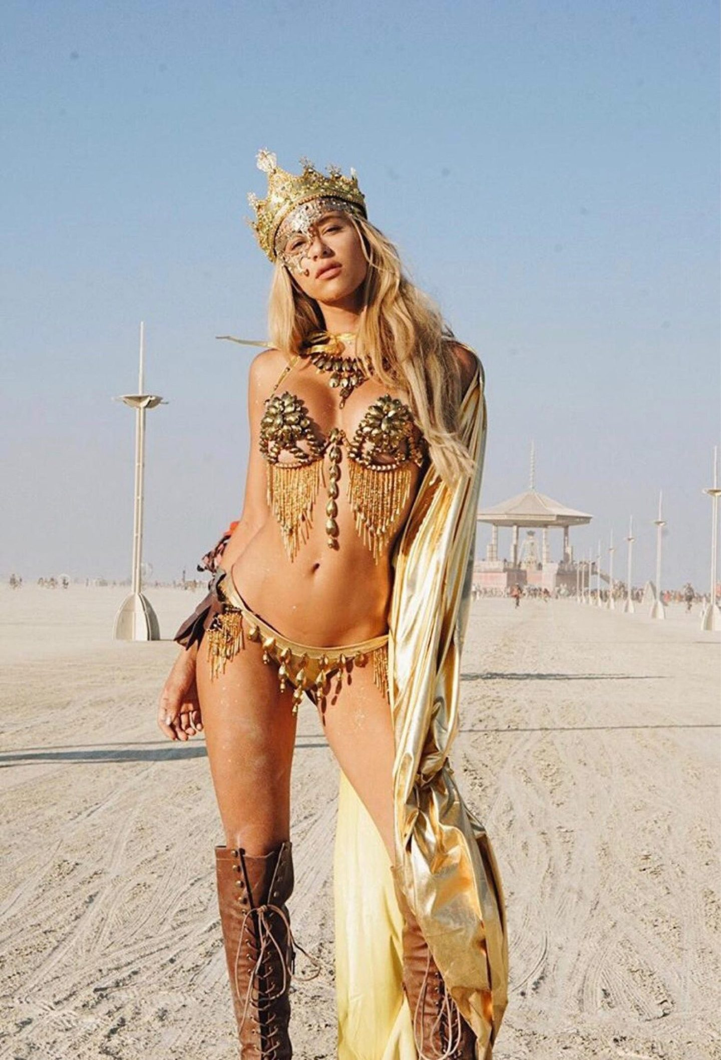 Gold sexy burning man outfit and festival Halloween costume for women