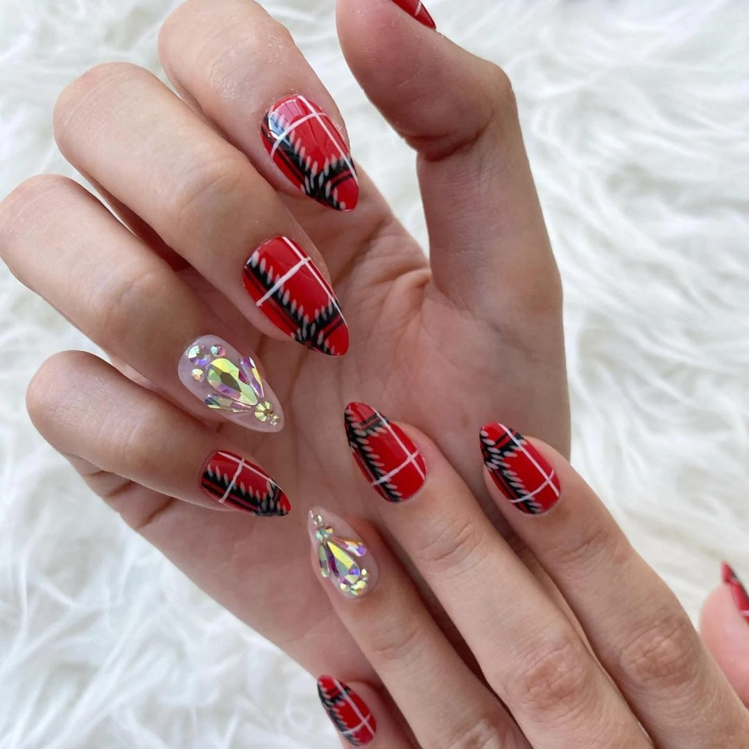 Red plaid nails with rhinestones