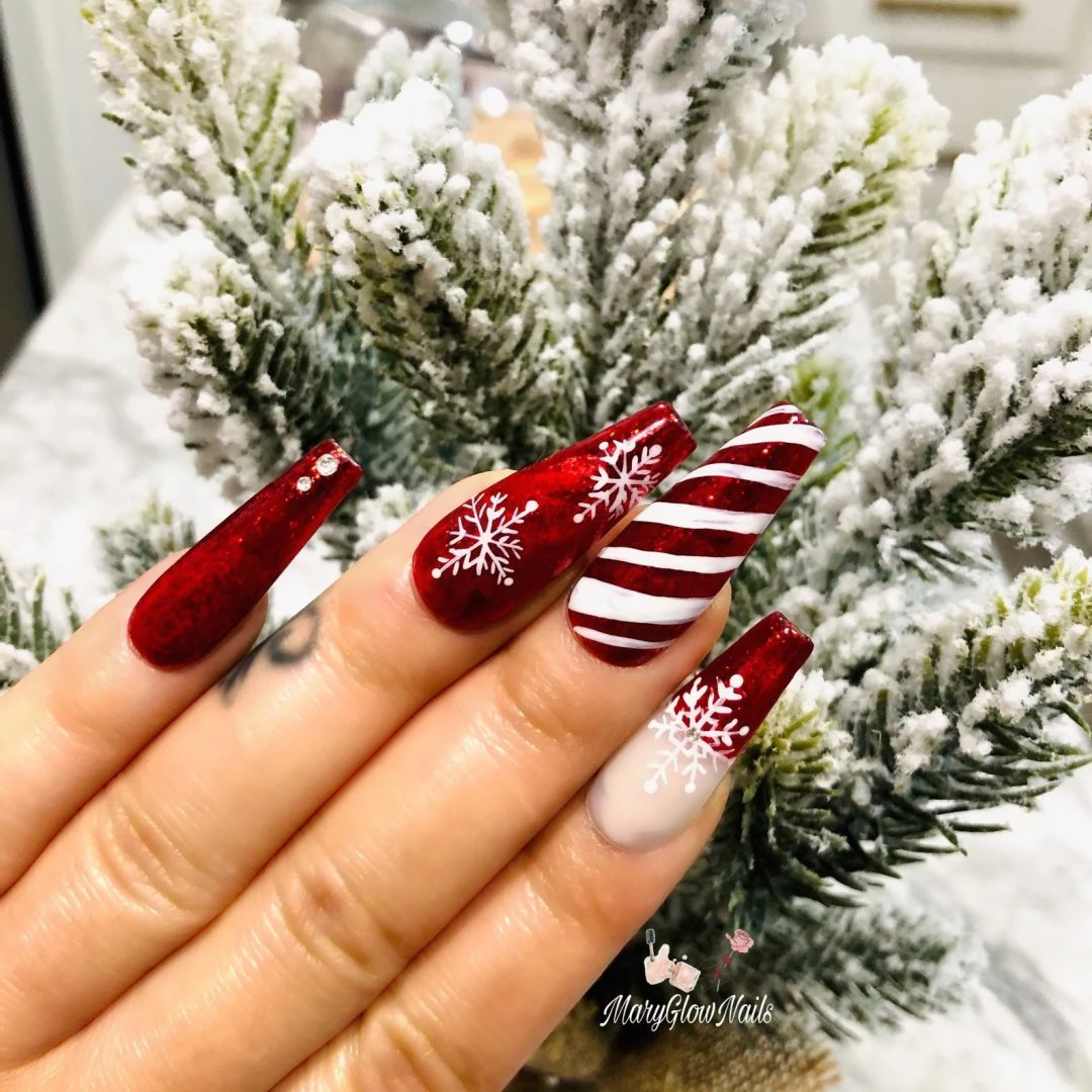 Red candycane snowflake nails