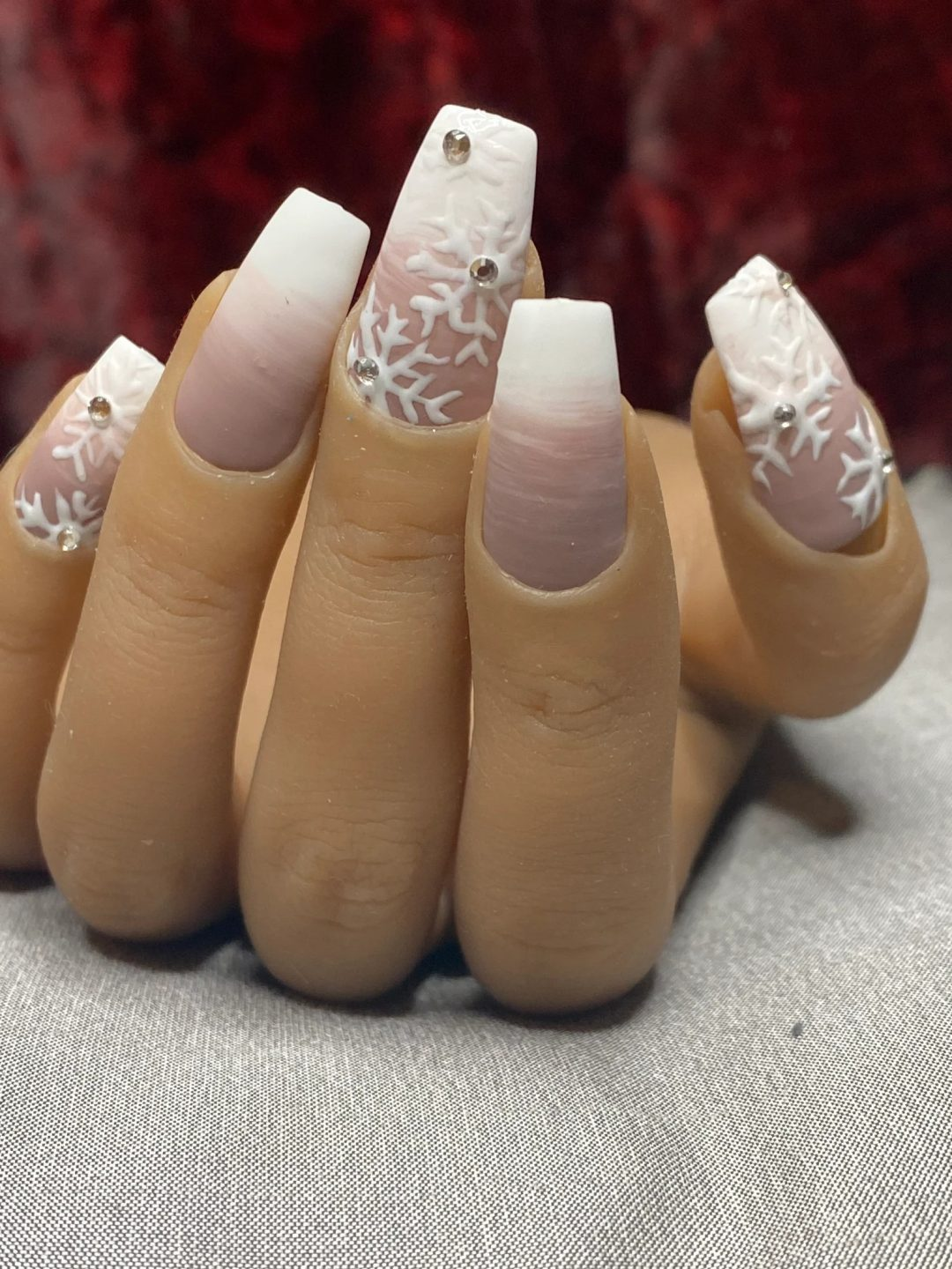 Mauve and white ombre snowflake nails