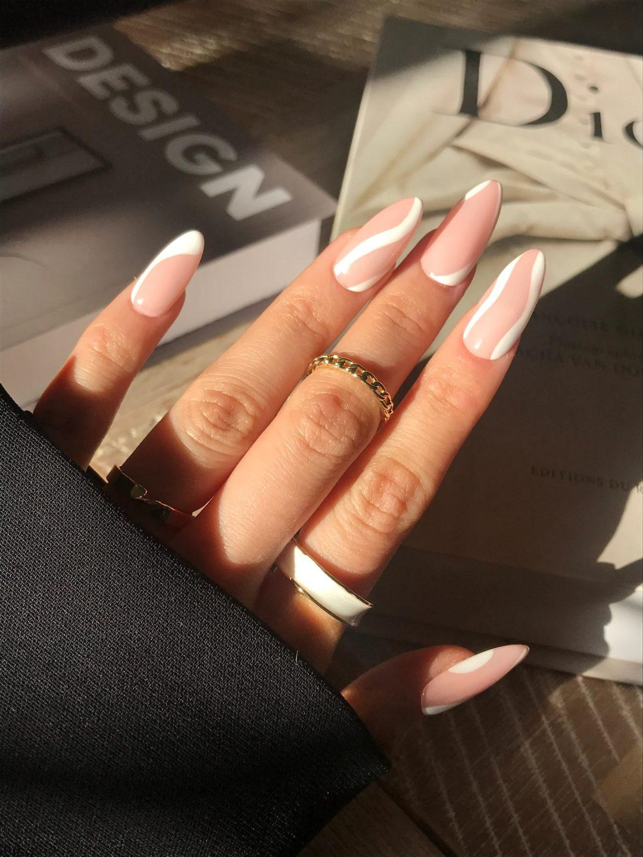 White swirly minimalist nails