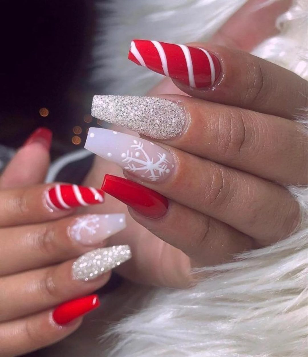 Candycane red and glitter snowflake nails