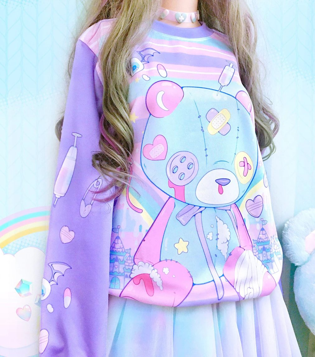 Cute pastel kidcore outfit with bear