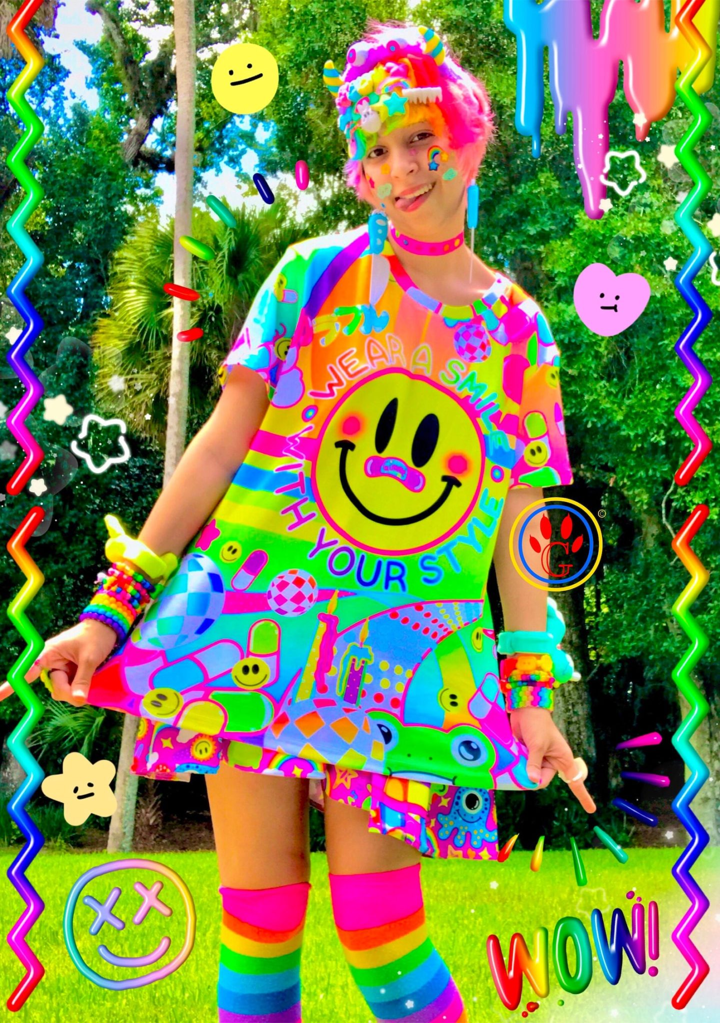 Colorful rainbow kidcore outfit