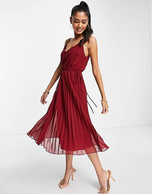 Pretty burgundy wedding guest dress with pleats