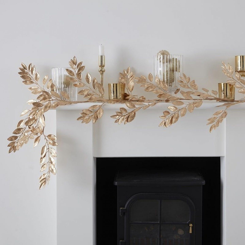Elegant gold foil foliage Christmas mantel decor
