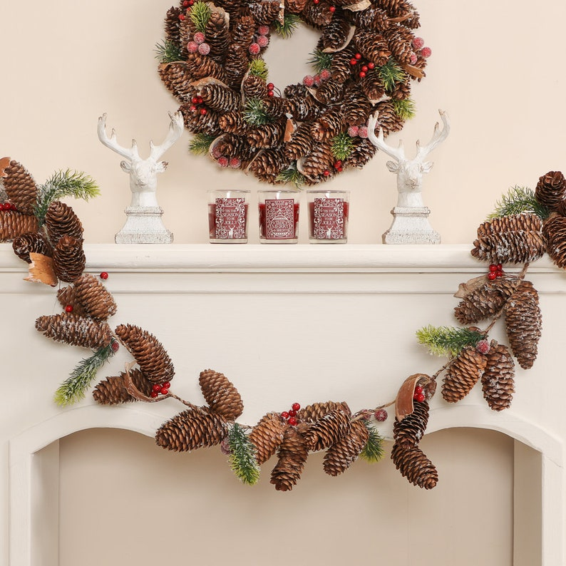 Frosted Pinecone Christmas mantel Garland