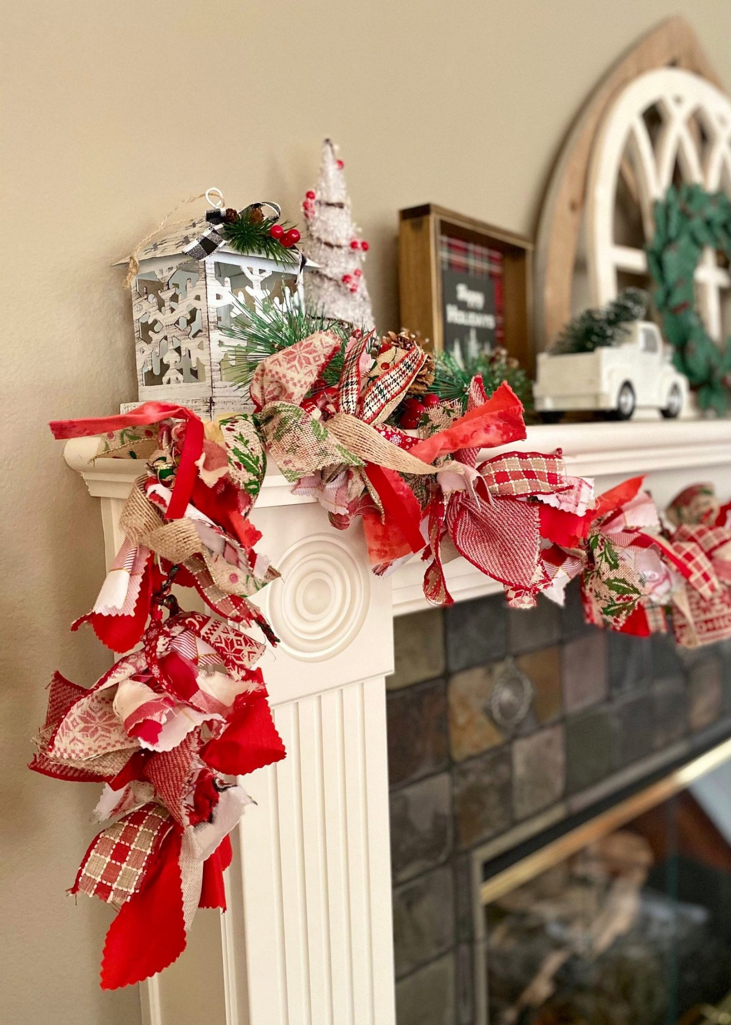 Rustic Red Christmas garland for mantel decor