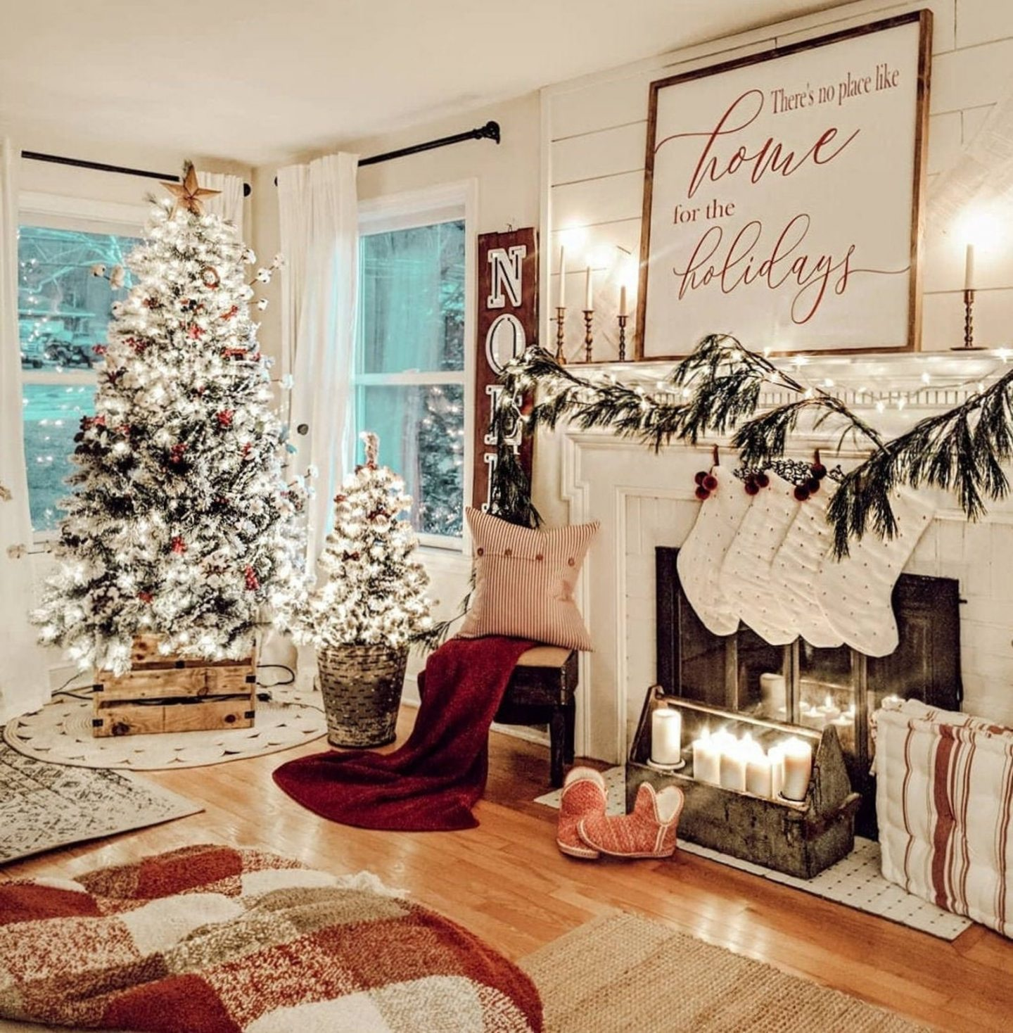 Beautiful Christmas mantel decor with sign
