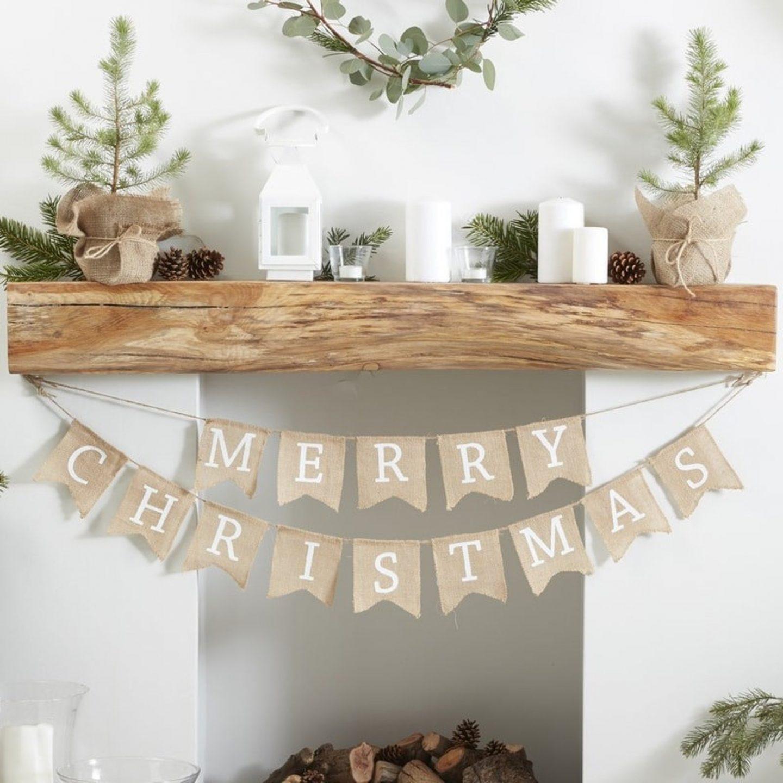 Minimalistic Burlap Merry Christmas Fireplace Banner