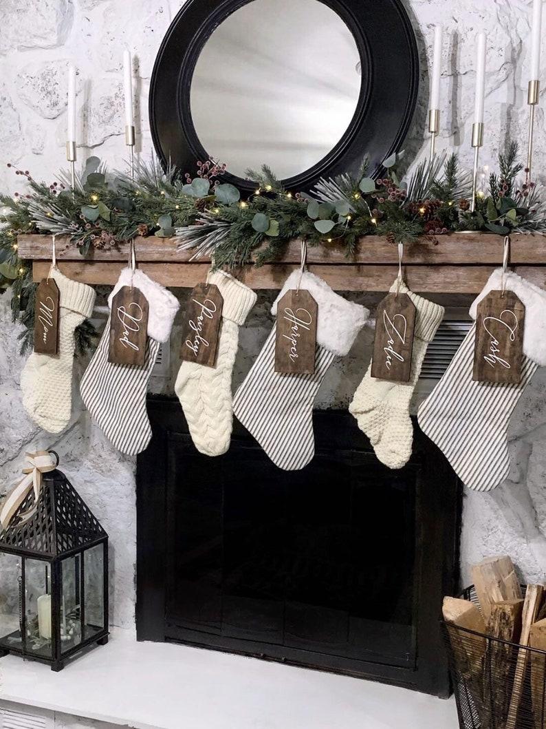 Rustic Christmas Stoking Tags for Mantel Decor