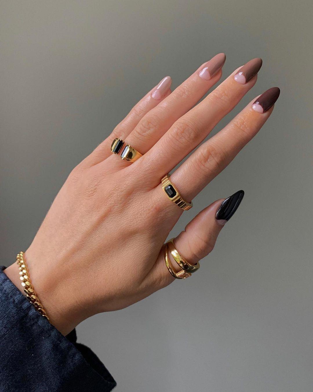 Brown minimalist half moon nails