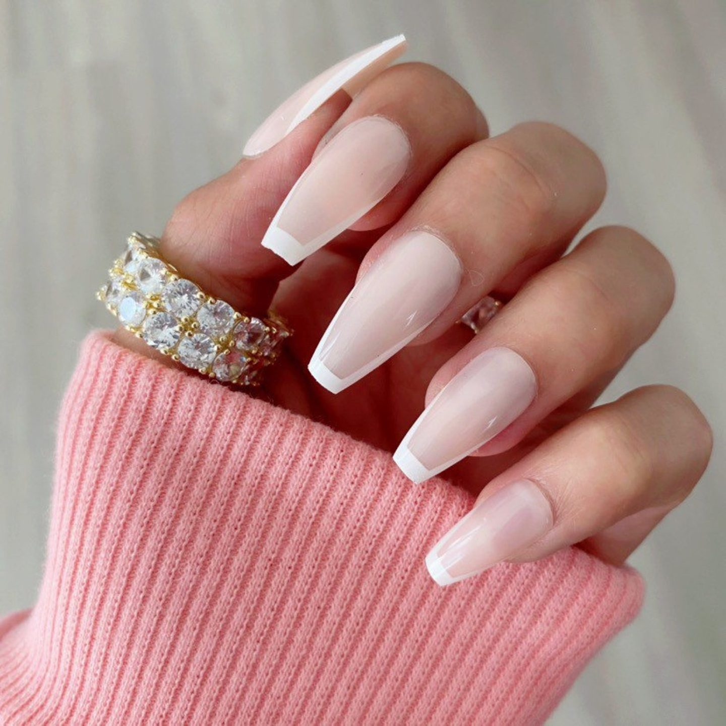 Simple and minimalist French tip coffin nails