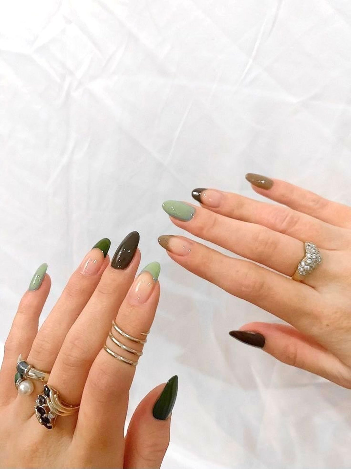 Khaki green and brown French tip minimalist nails
