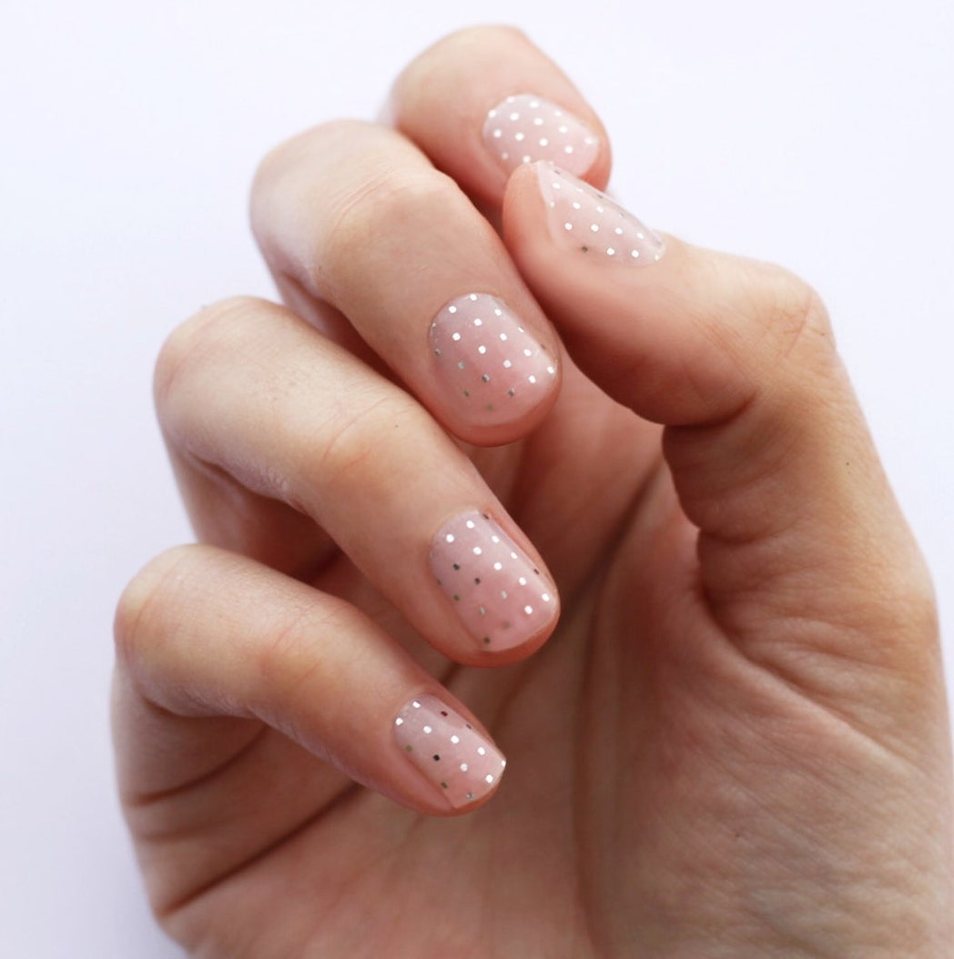 Short simple swiss dot nails with silver