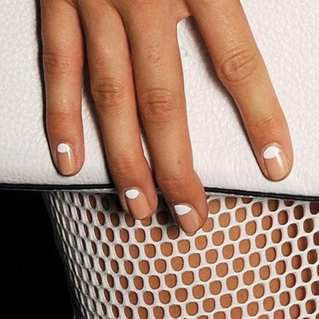 Short white half moon nails