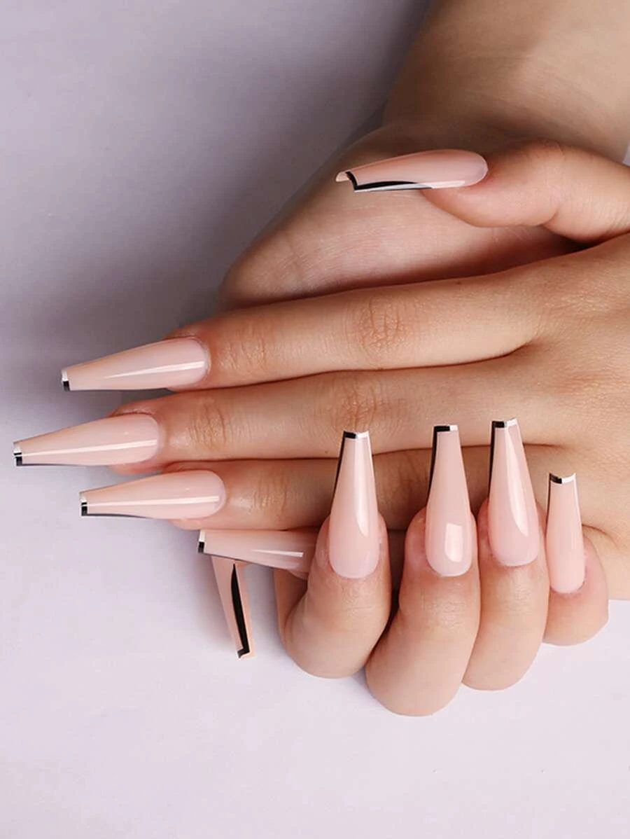 Cute long coffin nails with minimalist and simple black and white French tips