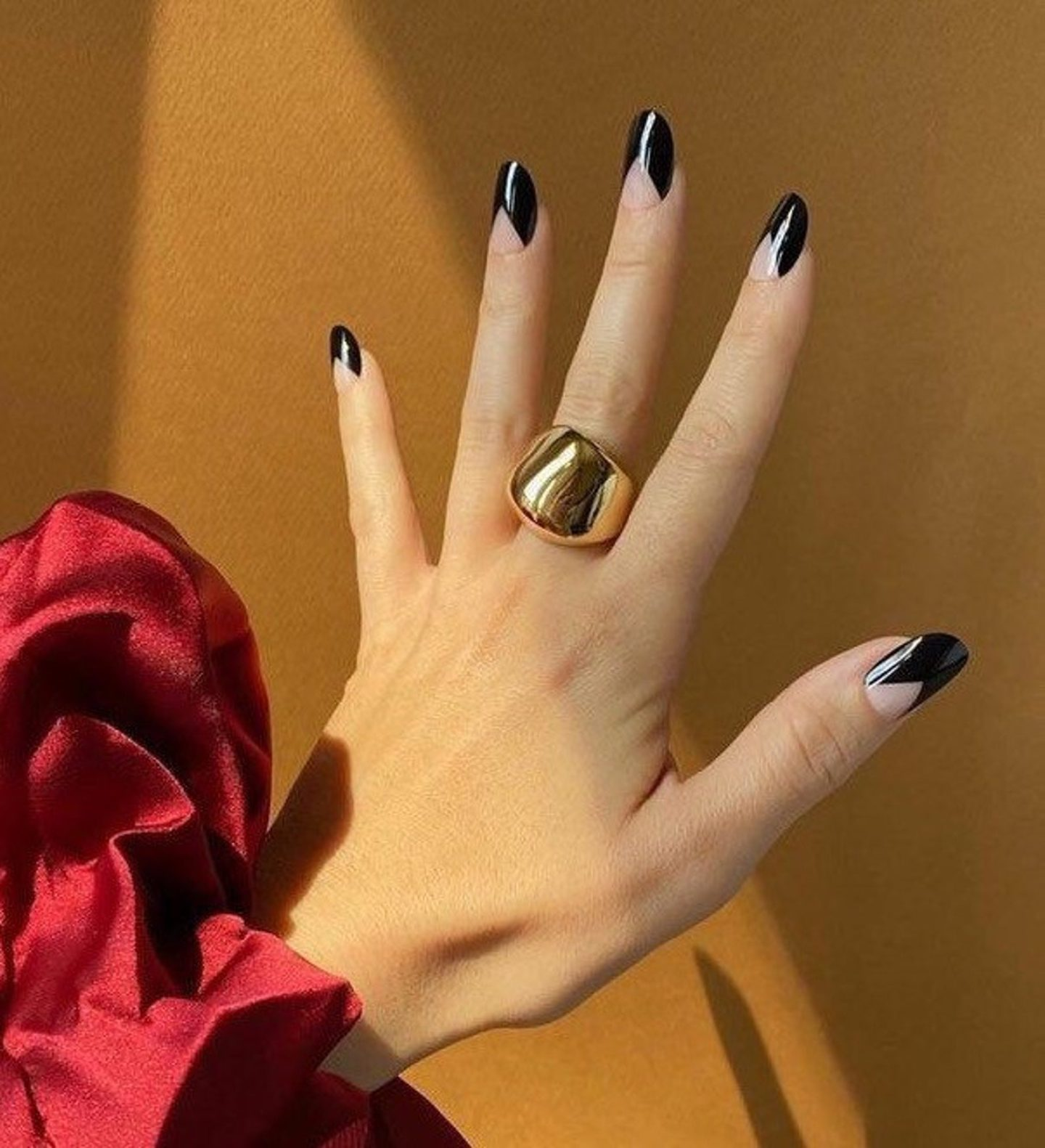 Black minimalist simple nails with negative space